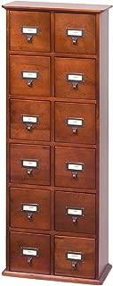 Leslie Dame Solid Oak Library Card File Media Cabinet, 12 Drawers, Walnut