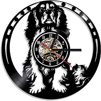 A/N 1Piece Cavalier King Charles Spaniel Dog Vinyl Clock House Art Pet Puppy Animal Led Backlight Home Decor Dog Lover