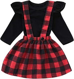 snowvirtuosau 2pcs Girls Long Sleeve T-Shirt Tops Plaid Sling Princess Dress Clothes Set