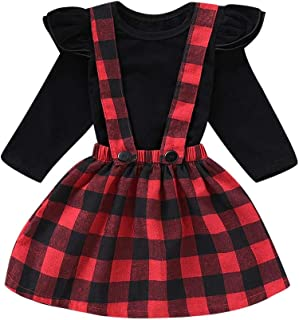 snowvirtuosau 2pcs Girls Long Sleeve T-Shirt Tops Plaid Sling Princess Dress Clothes Set