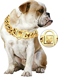 Gold Chain Dog Collar - Pet Training Collars, Stainless Steel Heavy Duty Cuban Link, Necklace Choke for Bully Pitbull,Bulldog, Mastiff, Big Breeds(Width 1.3 inch)