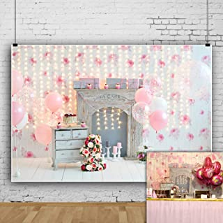 OFILA Baby Girl 1st Birthday Photo Shoot Backdrop 7x5ft Girls First Birthday Party Decoration Baby Girls 1st Birthday Backdrop 1st Cake Smash Portraits  Photography Background Colored Balloons Props