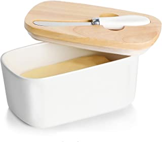 GDCZ Ceramics Butter Dish - Large Porcelain Butter Holder with Wooden Lid and Steel Knife(2 Sticks of Butter),White