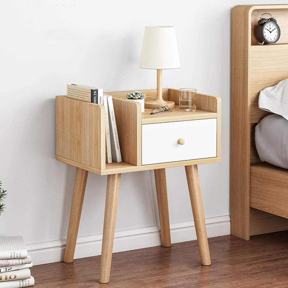 Bedside Cabinet with Storage Drawer and Bookcase IOTXY Bedroom Wooden Night Stand Nightstands