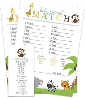 Cute Jungle Name the Baby Animal Shower Game (25 Pack)