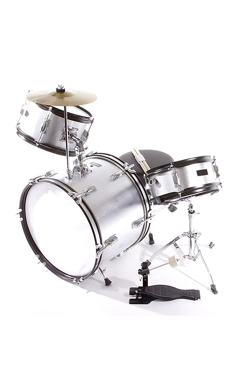 Premium Children's Junior Beginners Silver 3 Piece 16 Inch Drum Set with Chair, Sticks, Stool, Adjustable Tuning Key, Pick + Free Lessons
