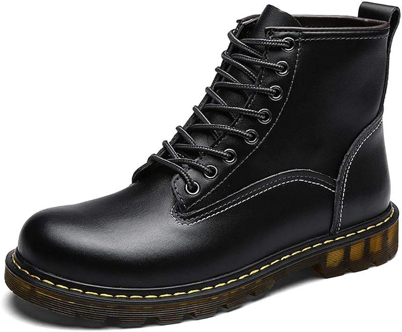 ZHRUI Martin Boots Men High Help Plus Velvet Warm Tooling Boots PVC Slip And Bare Boots (color   Black, Size   EU40 UK6)