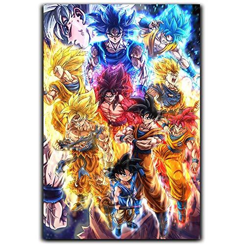 Póster de Dragon Ball Z para decoración del hogar enmarcado, pequeño Goku David Onaolapo Dbz, póster de tributo a The Legacy Of Son Goku II
