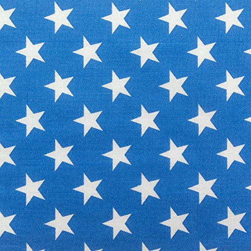 Stars on Blue Poly Cotton 60 Inch Fabric by The Yard (F.E.)