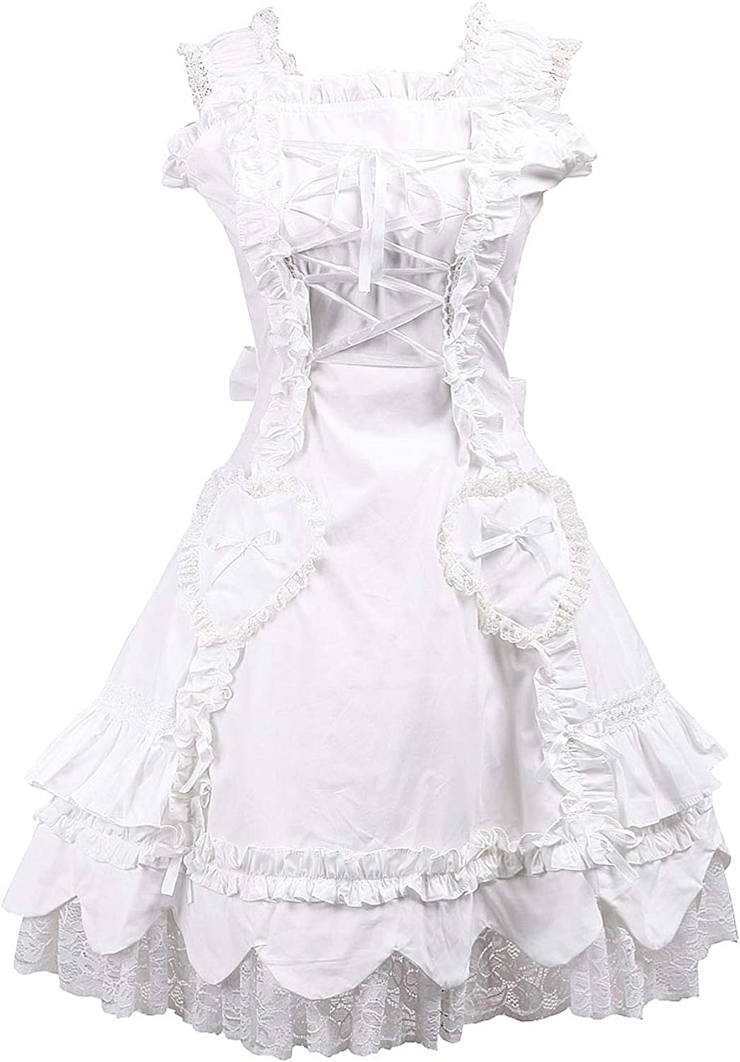 Antaina White Cotton Lace Ruffle Classic Sweet Victorian Lolita Cosplay Dress