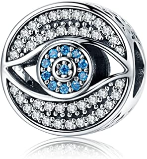 Blue Eye Authentic 925 Sterling Silver Lucky Blue Eye Clear CZ Guarding Charm Beads fit Women Charm Bracelet DIY jewelry