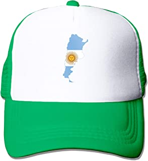 Boys and Girls 100% Polyester Flag Map of Argentina Baseball Cap, Adjustable Mesh Back Trucker Hat for Unisex