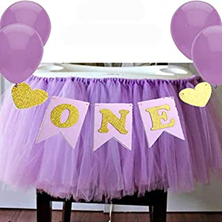 Lumpna Chair Skirt Banner Set, Cake Smash Exquiste Pennant Home Decorative Party for High Chair Easy Apply Photo Props DIY Baby Birthday Tutu Skirt Gauze(Purple)