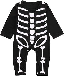 Mono para Bebé Recién Nacido Invierno Unisex Bodies Manga Larga Estampado Calavera para Fiesta de Halloween Cosplay Carnaval