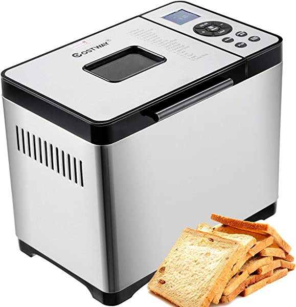 COSTWAY Bread Maker Stainless Steel Automatic Programmable Multifunctional Bread Machine With 19 Programs 3 Loaf Sizes 3 Crust Colors 15 Hours Delay Timer 1 Hour Keep Warm 19 Programs 650W