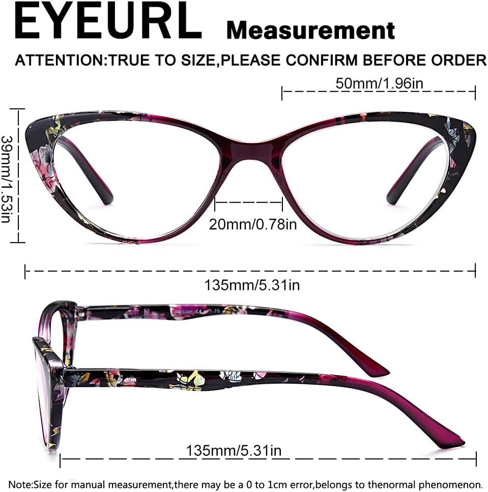 Buy Cat Eye Reading Glasses for Womens  EYEURL Set of 20 Blue Light ...