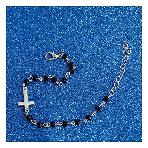 LUOSI Croce Gesù Squisita Moda Croce Bracciale Bracciale con perline di pietra naturale da donna regalo di compleanno gioielli accessori collane (colore metallo: argento)
