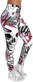 Womens Push up Capri High Waist Yoga Pants Fashion Skull Printed Skinny Slim High Waist Yoga Leggings Pants