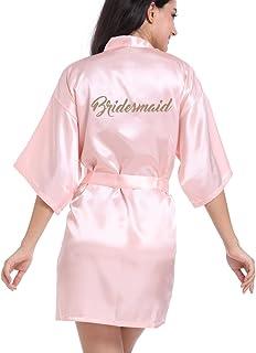 eb03246ce1 DF-deals Women s Satin Kimono Robe for Bridesmaid and Bride Wedding Party  Getting Ready Short