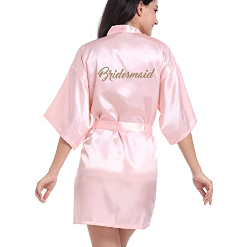 9c831eacf0 DF-deals Women s Satin Kimono Robe for Bridesmaid and Bride Wedding Party  Getting Ready Short