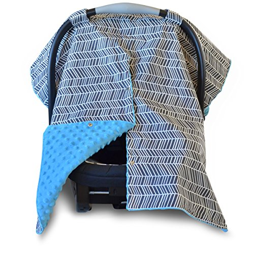 2 in 1 Carseat Canopy and Nursing Cover Up with Peekaboo Opening | Large Infant Car Seat Canopy for Girl or Boy | Best Baby Shower Gift for Breastfeeding Moms | Grey Herringbone Pattern and Blue Minky