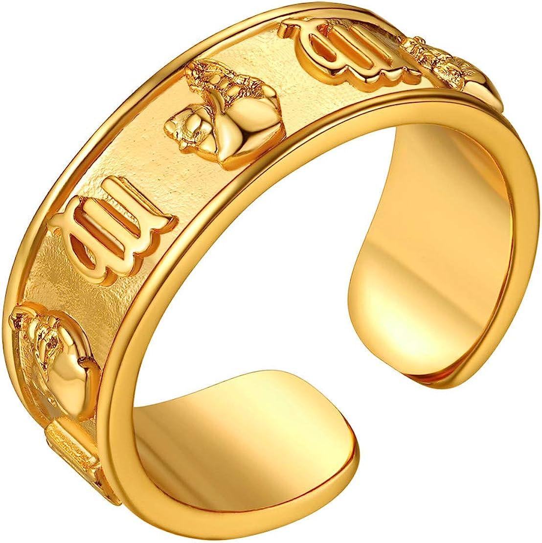 FindChic 3D Signos Zodíaco Anillos Ajustable de Oro baño Fino Tratado Mujeres Anillos Hombres con Estuche de Regalo