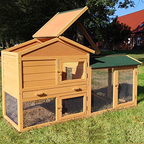Zooprimus Kaninchenstall 044 Hasenkäfig - HASENVILLA XL - Stall für Außenbereich (für Kleintiere: Hasen, Kaninchen, Meerschweinchen usw.)