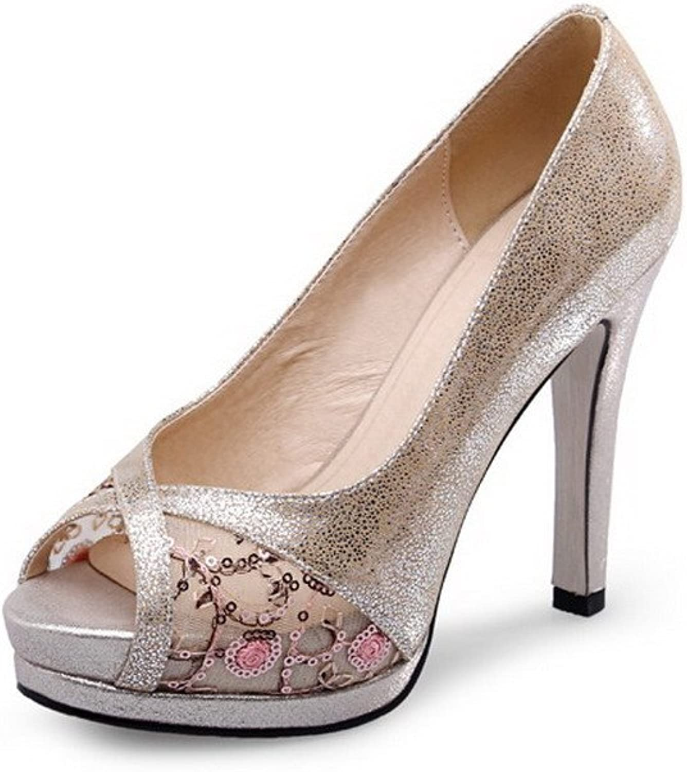AmoonyFashion Women's Solid Blend Materials High Heels Peep Toe Pull On Sandals