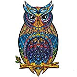Unidragon Wooden Puzzle Jigsaw, Best Gift for Adults and Kids, Unique Shape Jigsaw Pieces Charming Owl, 8.3 x 13.8 inches, 187 pieces, Medium