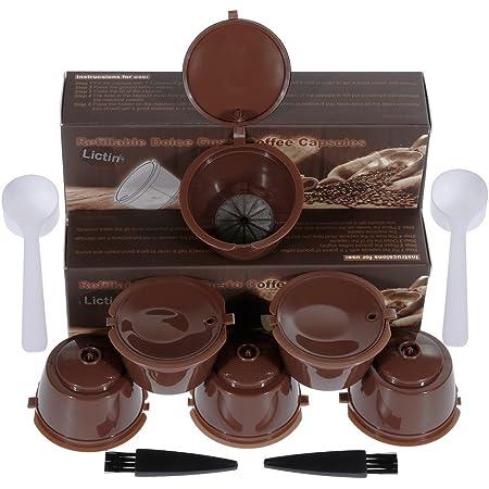 Lictin 6 Pcs Capsules Rechargeables à Cafe Compatibles avec les Machines Nescafe Dolce Gusto comme Mini Me, Piccolo, Genio Esperta , Circolo avec 1 Cuillere à Cafe et 1 Brosse a Nettoyer Marron