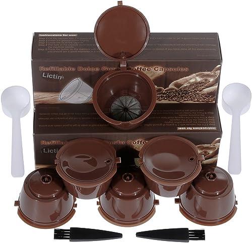 Lictin 6 Pack Cápsulas Filtros de Café Recargable Reutilizable para Cafetera Dolce Gusto Resistente Más de 150 Usos d...