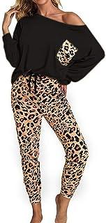 catmoew Sudadera Casual de Dos Piezas Mujer Sudadera con Leopardo de Manga Larga Tops Pantalones Chándal Sudadera para Trotar