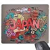 DIYthinker Amo Japón Asia Cultura Lindo Colorido Decorado A Mano Sakura Bonsai Sushi Geisha Arte Patrón De La Ilustración del Rectángulo De Goma Antideslizante Mousepad del Juego Alfombrilla De Ratón