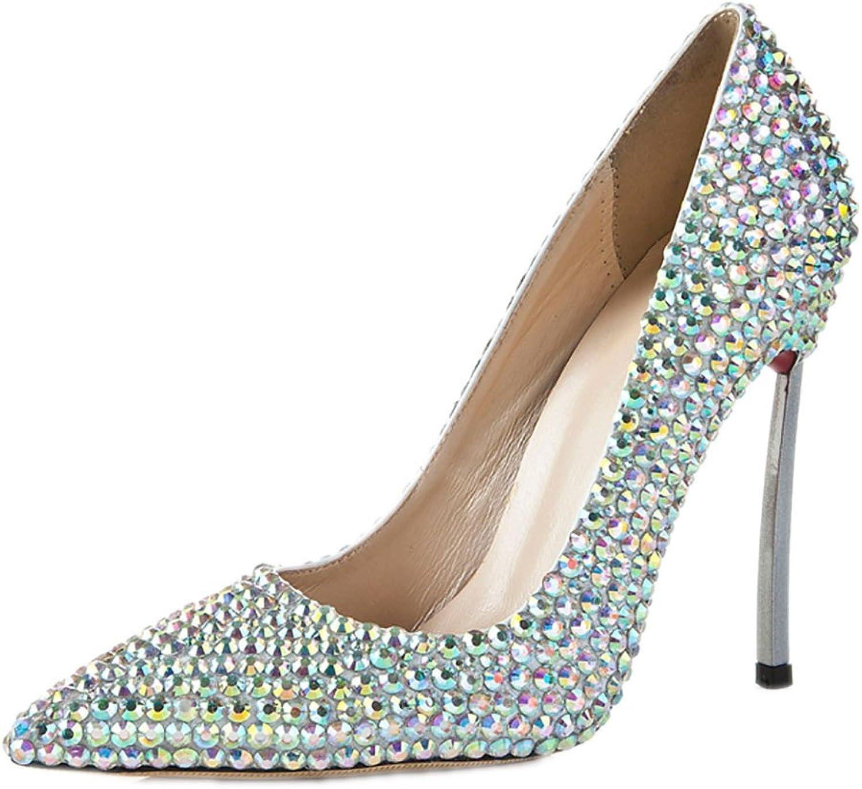Lacitena Womens Pointed Toe Stiletto High Heel,Platform Pumps Rhinestones High Heels,Wedding Bridal shoes