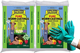 Unco Industries Wiggle Worm Organic Earthworm Castings Fertilizer, 30 Pound,Compost Soil (Bundled with Pearsons Protective Gloves) 2 Pack