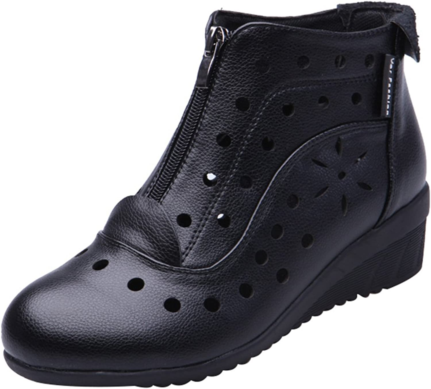 Abby 823 Womens Ballroom Casual Rumba Mid Top Wedge Cozy Breathable Holes Modern Round Toe Zip Dance shoes