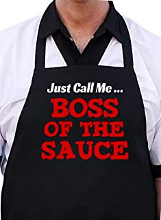 CoolAprons Boss of The Sauce BBQ Apron Funny, Man Grilling Aprons