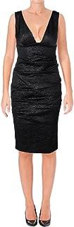 Womens V-Neck Black Crinkled Textured Ruched Sheath Dress Size 4