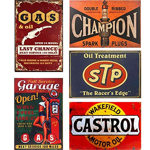 Easy Painter Motor Metal Signs for Garage Wall Sticker Iron Painting Shabby Chic House Plaques - Shell Texaco 20X30cmx5pcs