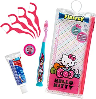Firefly Dental Travel Kit: Toothbrush, Toothpaste, Toothbrush Cap, and Flossers - Hello Kitty (Pack of 6)