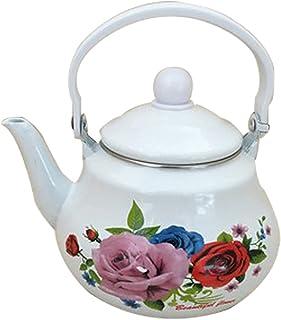 sahadsbv Théière en émail à Fleurs Roses 1.5L Floral, Grande Bouilloire en Porcelaine émaillée Pot à café Turc Pot de Boui...