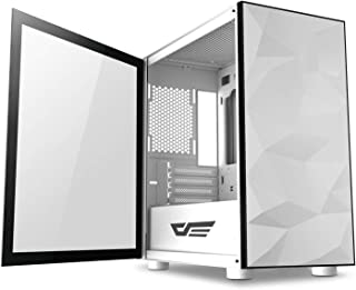 DarkFlash Micro ATX Computer Case with Wide Open Door Opening Swing Type Tempered Glass Side Panel With 2 RGB Fan Included...