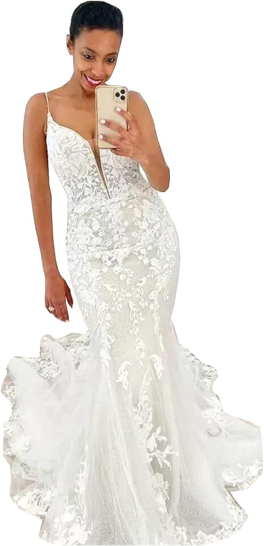Melisa Spaghetti Strap Lace Corset Bridal Gowns Ruffles Train Mermaid Wedding Dresses for Bride 2021