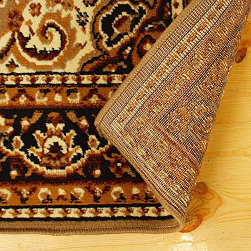 Superior Leopold Collection 4' x 6' Area Rug, Attractive Rug with Jute Backing, Durable and Beautiful Woven Structure, Oriental Medallion Rug with Detailed Border