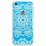 CasesByLorraine Compatible with iPhone 5C Case, White Mandala Floral Pattern Clear Transparent Flexible TPU Soft Gel Protective Cover for iPhone 5C 4.0' (2013)