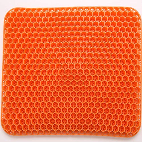 Gel Seat Cushion, Honeycomb Seat Cushion Gel, Egg Seat Cushion with Non-Slip Cover, 1916.51.6 inch Large,Increase Sitting Height fit for The Car,Office,Wheelchair, Portable, Pressure Relief (Orange)