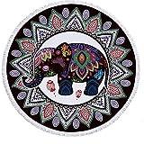SWNN Toallas de baño Microfibra De Toalla De Playa Redonda, Elefante Hombres Niños Manta De Poliéster Toalla Hippie Tapiz Tela De Mesa Estera De Picnic for Picnic Viaje De Mantón Ligero Protector Sola