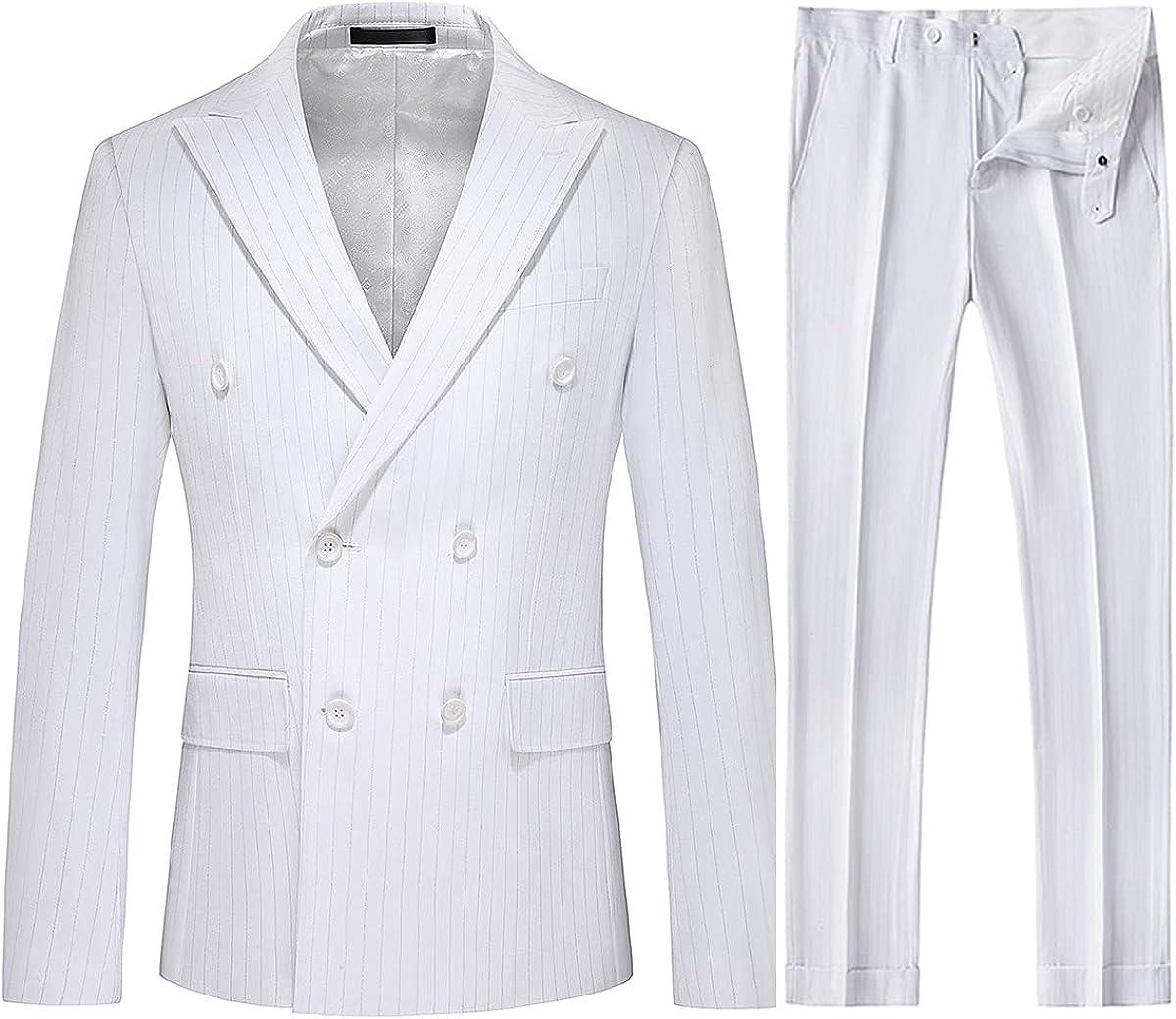 Mens Double Breasted Suits Slim Fit Pinstripe 3 Piece Set Tuxedo Blazer Jackets Vest & Pants Wedding Casual