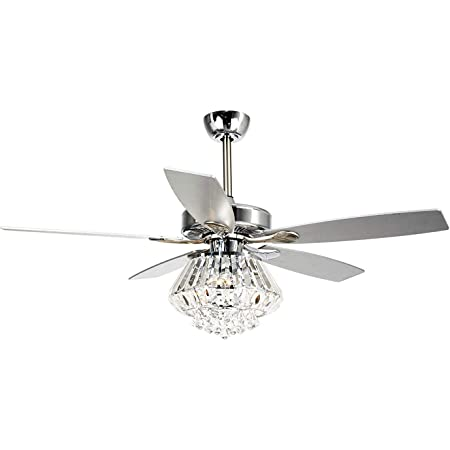 Amazon Com Ceiling Fan With Lights Parrot Uncle 52 Inch Ceiling Fan With Remote Control Modern Crystal Chandelier Fans For Bedroom With 5 Reversible Blades 3 Bulbs Not Included Chrome Kitchen Dining