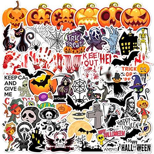 Halloween Deko Aufkleber,Jusduit 60 Stück Aufkleber Pack Wasserdicht Vinyl Stickers Graffiti Style Decals für Auto Motorräder Fahrrad Skateboard Snowboard Gepäck Handy Laptop Aufkleber Sticker Set